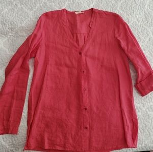 Eileen Fisher punch pink slouch linen v neck top